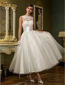 baratos Vestidos de Casamento-Princesa Decorado com Bijuteria Até o Tornozelo Renda sobre Tule Vestidos de casamento feitos à medida com Apliques / Faixa / Fita /
