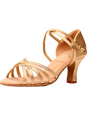 cheap Leggings-Women's Latin Shoes / Ballroom Shoes Satin Sandal Chunky Heel Non Customizable Dance Shoes Bronze / Champagne / Black / Leather / Leather
