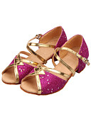 cheap Steel Band Watches-Women's Latin Shoes / Ballroom Shoes Sparkling Glitter Sandal Sequin / Sparkling Glitter Low Heel Non Customizable Dance Shoes Gold / Fuchsia / Light Blue / Kid's / Suede