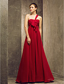 cheap Prom Dresses-Sheath / Column One Shoulder Floor Length Chiffon Bridesmaid Dress with Draping Ruched Ruffles by LAN TING BRIDE®