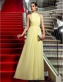 preiswerte Abendkleider-Eng anliegend Schmuck Boden-Länge Chiffon Promi-Stil Formeller Abend Kleid mit Seitlich drapiert / Rüschen durch TS Couture®