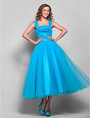 preiswerte Abendkleider-Ballkleid Quadratischer Ausschnitt Tee-Länge Tüll Abiball Kleid mit Drapiert / Gerafft durch TS Couture®