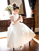 cheap Women's Hats-A-Line / Princess Tea Length Flower Girl Dress - Satin Sleeveless Jewel Neck with Bow(s) / Ruched by LAN TING BRIDE®