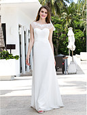 cheap Wedding Dresses-A-Line Illusion Neck Sweep / Brush Train Chiffon / Tulle Made-To-Measure Wedding Dresses with Bowknot / Beading / Appliques by LAN TING
