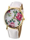 baratos Relógios da Moda-Mulheres Relógio de Pulso Quartzo Relógio Casual PU Banda Analógico Flor Fashion Preta / Branco / Azul - Vermelho Verde Azul