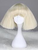 billige Brudepikekjoler-Syntetiske parykker Dame Rett / Kinky Glatt Blond Med lugg Syntetisk hår 12 tommers Med Bangs Blond Parykk Kort Lokkløs Hvit
