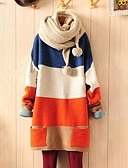 cheap Women's Sweaters-Women's Long Sleeves Loose Long Pullover - Color Block