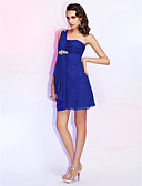 cheap Cocktail Dresses-Sheath / Column One Shoulder Short / Mini Chiffon Cocktail Party Dress with Beading / Ruched by TS Couture®