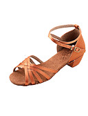 abordables Lencería de Mujer-Mujer Zapatos de Baile Latino / Salón Satén Sandalia Tacón Bajo No Personalizables Zapatos de baile Bronce / Niños / Ante