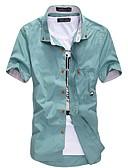 baratos Camisas Masculinas-Homens Tamanhos Grandes Camisa Social Básico, Sólido Algodão Colarinho Com Botões Delgado / Manga Curta