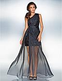 hesapli Özel Davet Elbiseleri-Sütun Tek Omuz Yere Kadar Şifon / Payetli Yan Drape / Ayrık Ön ile Balo / Resmi Akşam Elbise tarafından TS Couture® / See Through