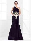 Χαμηλού Κόστους Βραδινά Φορέματα-Τρομπέτα / Γοργόνα Ένας Ώμος Ουρά Σατέν / Ζορζέτα Φόρεμα Παρανύμφων με Ζώνη / Κορδέλα / Πιασίματα με LAN TING BRIDE®