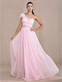 Χαμηλού Κόστους Βραδινά Φορέματα-Ίσια Γραμμή Ένας Ώμος Μακρύ Σιφόν Ανοικτή Πλάτη Χοροεσπερίδα / Επίσημο Βραδινό Φόρεμα με Χάντρες / Που καλύπτει με TS Couture®