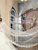 """זול הינומות חתונה-שכבה אחת אפליקצית קצה תחרה הינומות חתונה צעיפי קתדרלה עם 157.48 אינץ' (400 ס""""מ) סאטן / טול"""