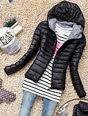 preiswerte Überbekleidung-Damen Normal Schick & Modern / Modisch Moderner Stil Solide Mantel, Organische Baumwolle / Feder Langarm Winter Mit Kapuze Schwarz / Rot / Grün