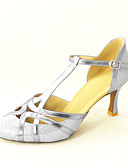 baratos Vestidos Femininos-Mulheres Sapatos de Dança Moderna / Dança de Salão Glitter / Courino Salto Salto Personalizado Personalizável Sapatos de Dança Prateado /