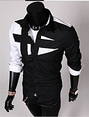 cheap Men's Shirts-Men's Cotton Slim Shirt - Color Block Black & White, Patchwork Spread Collar / Long Sleeve