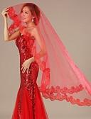 رخيصةأون طرحات الزفاف-One-tier Lace Applique Edge الحجاب الزفاف Chapel Veils مع زينة / تطريز / روش 59.06 في (150cm) تول