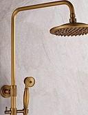 tanie Skóra-Bateria Prysznicowa - Tradycyjny Mosiądz antyczny Budowa prysznica Zawór ceramiczny / Pojedynczy Uchwyt Trzy Otwory