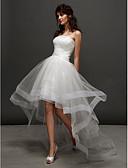 baratos Vestidos de Casamento-Princesa Sem Alças Assimétrico Tule Vestidos de casamento feitos à medida com Miçangas / Franzido de LAN TING BRIDE® / Vestidos Brancos Justos
