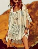 billige Minikjoler-Stort Ærme Løstsiddende Løstsiddende Kjole - Ensfarvet, Blonder Mini Skulderfri