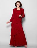 Χαμηλού Κόστους Φορέματα για τη Μητέρα της Νύφης-Γραμμή Α Scoop Neck Μακρύ Ζορζέτα Φόρεμα Μητέρας της Νύφης με Χάντρες με LAN TING BRIDE® / Εσάρπα περιλαμβάνεται
