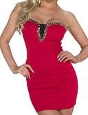 זול שמלות נשים-סטרפלס מיני חרוזים, אחיד - שמלה צינור מועדונים בגדי ריקוד נשים