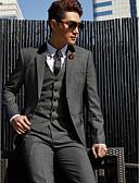 זול חליפות-טוקסידו גזרה מחוייטת גזרה רגילה קולר פתוח צר סגור כפתור אחד Single Breasted Two-button כותנה פוליאסטר תערובת צמר ופוליאסטר אחיד