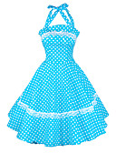 abordables Vestidos de Talla Grande-Mujer Fiesta Vintage Algodón Corte Ancho / Vaina / Corte Skater Vestido - Volante / Plisado, A Lunares Hasta la Rodilla Halter