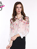cheap Women's Tops-Daily Casual Spring Summer Fall Shirt, Floral Long Sleeves Polyester
