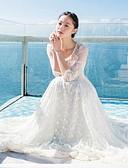 baratos Vestidos de Mulher-Mulheres Para Noite Sofisticado balanço Vestido - Renda, Sólido Longo Branco / Verão