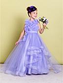 hesapli Çiçekçi Kız Elbiseleri-A-Şekilli Taşlı Yaka Süpürge / Fırça Kuyruk Organze Kırma Dantel / Çiçekli ile Çiçekçi Kız Elbisesi tarafından LAN TING BRIDE®
