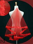 baratos Véus de Noiva-Uma Camada Borda com aplicação de Renda Véus de Noiva Véu Ponta dos Dedos com Bordado Renda / Tule / Oval