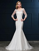 cheap Wedding Dresses-Mermaid / Trumpet V Neck Sweep / Brush Train Lace Over Tulle Made-To-Measure Wedding Dresses with Beading / Appliques by LAN TING Express / Illusion Sleeve / Open Back