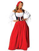 hesapli Oktoberfest-Kasım Festivali üstü dar altı geniş elbise Trachtenkleider Kadın's Elbise Başlık Bavyera Kostüm Kırmzı / Pamuk