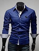 abordables Camisas de Hombre-Hombre Tallas Grandes Algodón Camisa Delgado Un Color