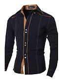 tanie Męskie koszule-Koszula Męskie Wzornictwo chińskie Bawełna Kołnierzyk klasyczny Szczupła - Solidne kolory / Długi rękaw