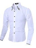 baratos Camisas Masculinas-Homens Camisa Social Temática Asiática Sólido Algodão Colarinho Clássico / Manga Longa