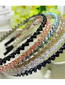 povoljno Ženske kaputi od kože i umjetne kože-Južna Koreja uvozi ukosnica vještački dijamant beaded glavu Hoop dekoracije dvostruko kristalno red kose bend ljubičasta