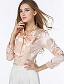 billige Skjorter til damer-V-hals Store størrelser Skjorte Dame - Ensfarget, Sløyfe