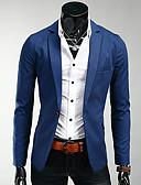 billiga Herrblazers och kostymer-Enfärgad Plusstorlekar Blazer-Affär Enkel Ledigt Business Casual Herr Spetsslag Smal / Långärmad / Arbete
