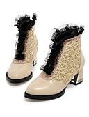 abordables Vestidos de cóctel-Mujer Zapatos PU Otoño / Invierno Confort / Botas de Moda Botas Senderismo / Paseo Tacón Cuadrado Dedo Puntiagudo Encaje Cosido / Volantes Blanco / Negro / Rojo
