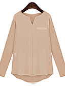 billige T-shirt-Flagermuseærmer V-hals Dame - Ensfarvet Bomuld Plusstørrelser Bluse