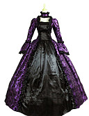 cheap Historical & Vintage Costumes-Vintage Victorian Medieval Renaissance Costume Women's Dress Party Costume Masquerade Purple Vintage Cosplay Lace Satin Long Sleeve Poet Sleeve Floor Length Long Length Ball Gown Plus Size Customized
