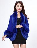 cheap Women's Dresses-Long Sleeve Faux Fur / Imitation Cashmere Wedding Wedding  Wraps / Fur Coats / Hoods & Ponchos With Feathers / Fur Capelets