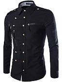 abordables Camisas de Hombre-Hombre Estilo clásico - Algodón Camisa, Cuello Inglés Un Color