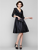cheap Mother of the Bride Dresses-A-Line V Neck Knee Length Chiffon / Taffeta Mother of the Bride Dress with Ruched by LAN TING BRIDE®