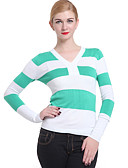olcso Női pulóverek-Női Hosszú ujj Pulóver Csíkos V-alakú