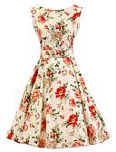 tanie Sukienki-Linia A Sukienka Damskie Impreza/Przyjęcie Vintage Kwiaty,Okrągły dekolt Do kolan Bez rękawów Beżowy Bawełna Na każdy sezon