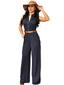 cheap Women's Jumpsuits & Rompers-Women's Jumpsuit - Solid Colored High Rise Deep V / Summer